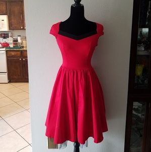 Dresses & Skirts - Vintage red fit and flare 1950s style dress